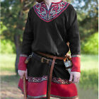Men Cos Shirts Tunic Long Sleeve Robe Grown Medieval Renaissance Blouse Costumes