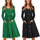 OUGES Womens Long Sleeve V Neck Button Down Skater Dress With Pocket Plain Dress