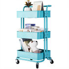 3-Tier Rolling Metal Cart Storage Shelves Trolley Cart with Wheels for Kitchen