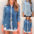 Ladies Ripped Slim Fit Denim Shirt Jacket Casual Button Down Jeans Coat Outwear