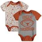 Texas Longhorns Infant Heathered Gray/White Two-Pack Woodwin Bodysuit Set