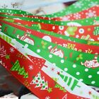 Christmas Printed Grosgrain Ribbon Hair Bow Sewing Red Green White 10/25mm
