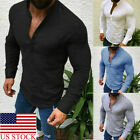 Mens Slim Fit Long Sleeve T Shirt Designer Muscle Fitted Top Gym Curved Hem Tee image