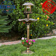 Antique Outdoor Solar LED Light Bird Bath Feeder Garden Pedestal Decor Vintage photo