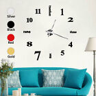 3D Mirror Surface Wall Sticker Clocks Giant Frameless DIY Clock Watch Decor US