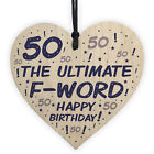 50th Birthday Novelty Wood Heart Gifts Funny 50th Birthday Accessories Men Women