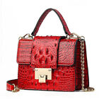 Women's Crocodile Leather Lock Shoulder bag Metal Chain Small square Bag Handbag image