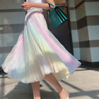 Girls High Rise Colorful A-line Skirts Gradient Pleated Dress Rainbow Free Size