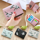 Women's Mini Leather Wallet Flower Coin Organizer Small Embroidery Purse Pockets image
