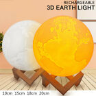 3d Earth Moon Lamp Led Night Light Touch Control Rechargeable Home Decoration
