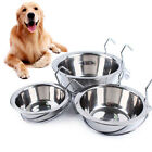 BH_ Metal Dog Pet Bowl Cage Crate Non Slip Hanging Food Dish Water Feeder with h