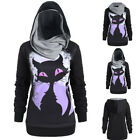 Women Halloween 3D Cat Print Long Sleeve Convertible Hoodie Sweatshirt Tops LQ