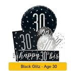*NEW BLACK GLITZ* Age 30 - Happy 30th Birthday - Party Supplies Decorations