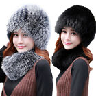 Winter Real Fox Fur Hats and Scarf For Women Warm Soft Cap Black White Grey