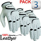 Apical Legend Men's Leather Golf Gloves - White - 3-PACK - Pick Size