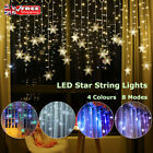 Led Snowflake Fairy String Curtain Lights Waterproof Xmas Outdoor Home Decor Uk