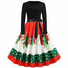 Women's Snowman Xmas Tree Floral Swing Midi Dress Long Sleeve Lace Up Sundress