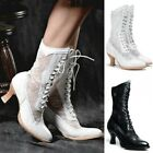 Women Victorian Steampunk Leather Boots with Lace Rustic Cowboy Short Ankle Boot