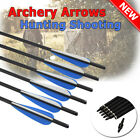 "16-22"" Archery Carbon Arrows Crossbow Bolts Shaft Target Tips Hunting Shooting"