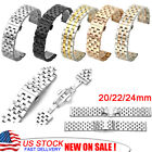 20/22/24mm Unisex Stainless Steel Metal Wrist Watch Strap Band Buckle Bracelet image