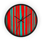 Wall clock with modern minimalistic red and teal pattern
