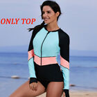 Women Long Sleeve UV Sun Protection UPF 50 Rash Guard Top One Piece Swimsuit