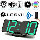 Loskii Digital 3D LED Wall Desk Clock Alarm Clock Snooze 12/24 h Display USB US