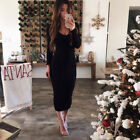Womens Knit Bodycon Sweater Dress Long Sleeve V Neck Long Jumper Pencil Dresses