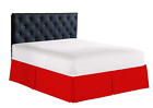 """Solid Bed Skirt Wrap Around Elastic Dust Ruffle 1500 Thread Count Red 14"""" Drop image"""