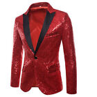 Men Sequin Long Sleeve Blazer Suit Casual Jacket Coat Top Outwear Wedding Party