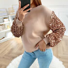 Women Sequin Puff Sleeve Jumper Blouse Ladies Casual Loose Sweater Pullover Tops
