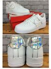 NIKE MENS AIR FORCE 1 07 LV8 WHITE HOLOGRAPHIC TRAINERS VARIOUS SIZES EP