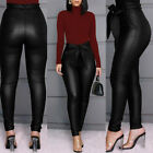 Women's Leggings PU Leather High Waisted Pants Stretchy Skinny Pencil Trousers