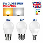 5W E14 E27 B22 LED Golf Light Bulbs Dimmable SES ES BC Lamps Cool/Warm White UK