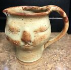 Handmade Art Stoneware Facial obscure figural water Pitcher Mug jug Face Head