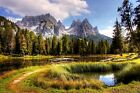 Italy Mountain Lake Trees Nature Landscape  HD POSTER