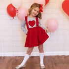US STOCK Toddler Baby Girls Valentine's Day Heart Print Tops Dress Outfits 1-6Y