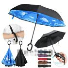 Reversible Umbrella C-Handle Double Layer Windproof Inverted Upside Down Reverse