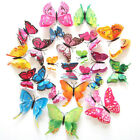 12/24 Pcs Diy 3d Butterfly Magnetic Wall Stickers Art Decals Room Home Decor Che