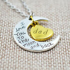 I Love You To The Moon & Back Heart Necklace Pendant Mom Dad Family Member Gift