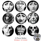 Plate Stickers Wall Designer Fornasetti 9pcs Wallpaper Separated Painting Arts