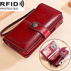 Genuine Leather Women's Long Clutch Wallet RFID Blocking ID Card Holder Vintage image