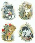 4 Different Garden Cat Kittens Select-A-Size Waterslide Ceramic Decals Xx image