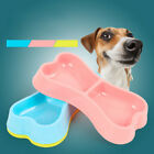 Pet Dog Double Bowls Plastic Bone Shape Puppy Water Dry Wet Food Feeder Bowl
