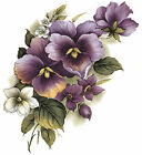 Purple Pansy Pansies Flower Spray Select-A-Size Waterslide Ceramic Decals Bx image