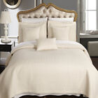 Luxury Checkered Quilted Wrinkle Free Ivory 6 PC Microfiber Coverlet Sets image