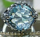 6ct Round Aquamarine Sterling Silver Victorian Filigree Ring Made To Order