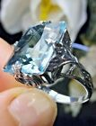 10ct Sim Aquamarine Sterling Silver Art Deco 1930s Filigree Ring Made To Order