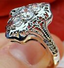 White Gems Sterling Silver 1930's Gatsby Deco Filigree Ring Made To Order  182