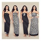 NEW AVON LADIES MAXI BLACK PRINT DRESS SIZE S,M,XL RRP $47.99 - REVERSIBLE